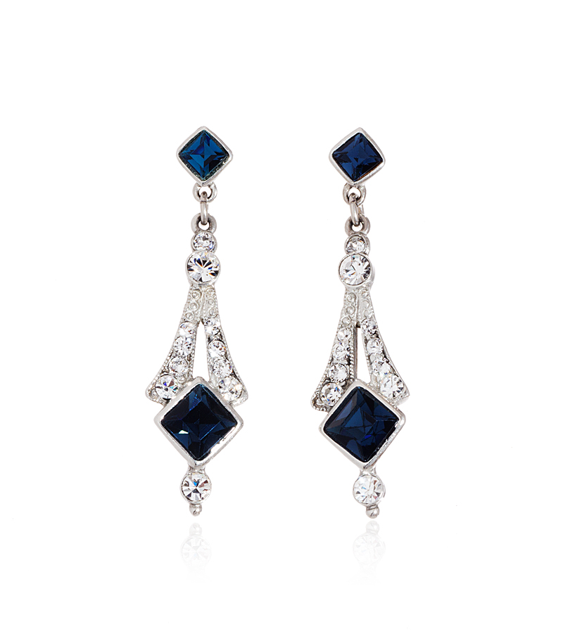 deco blue bridal earrings