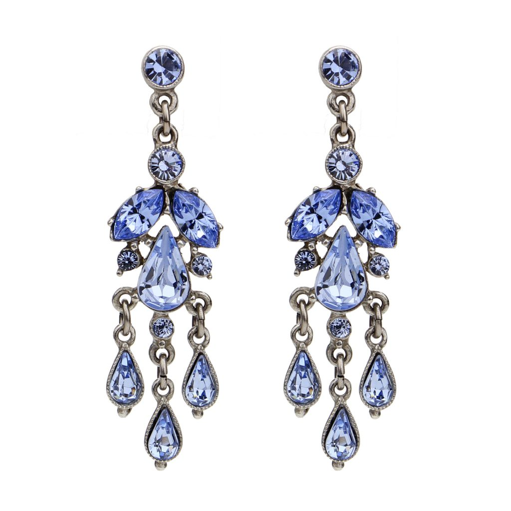 blue bridal earrings chandeliers