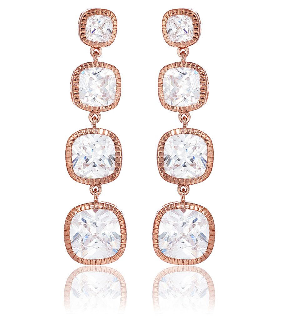 Long drop rose gold earrings