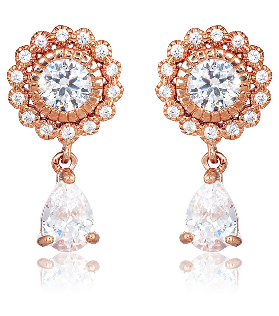 Ava Petite Teardrop rose gold wedding earrings