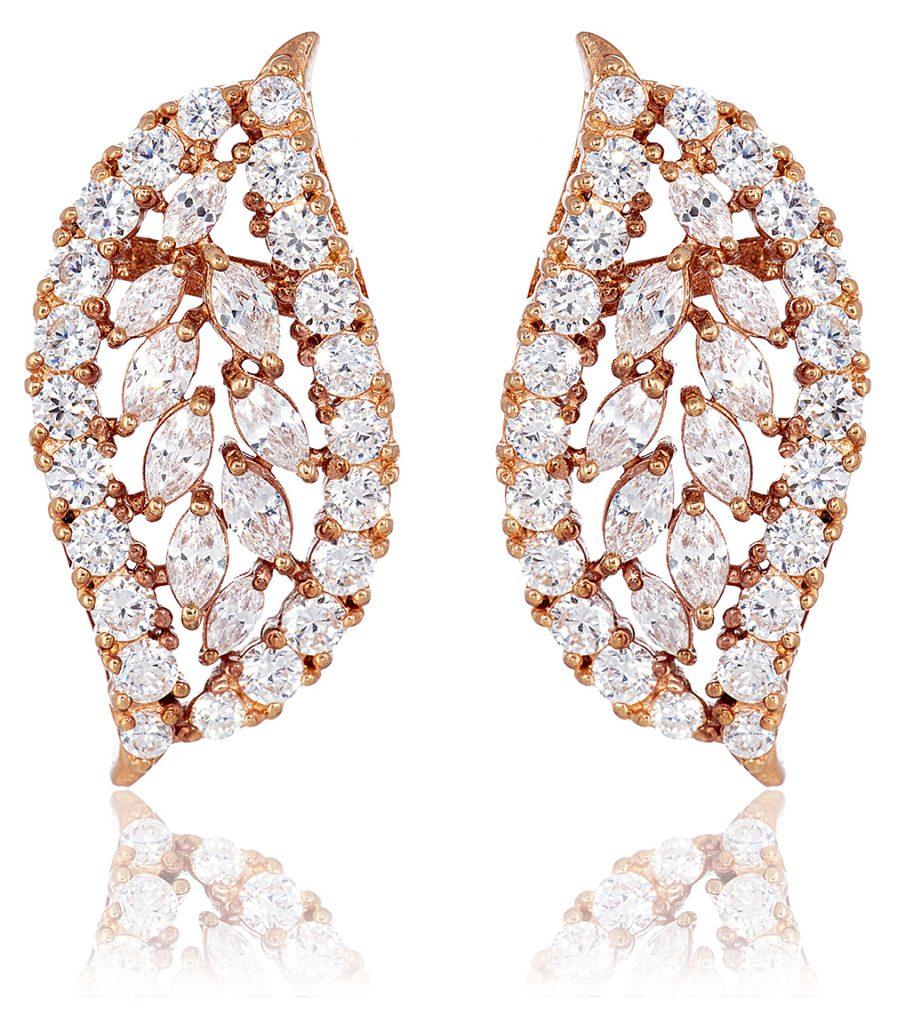 Ava Vintage Swirl Rose Gold Bridal Earrings