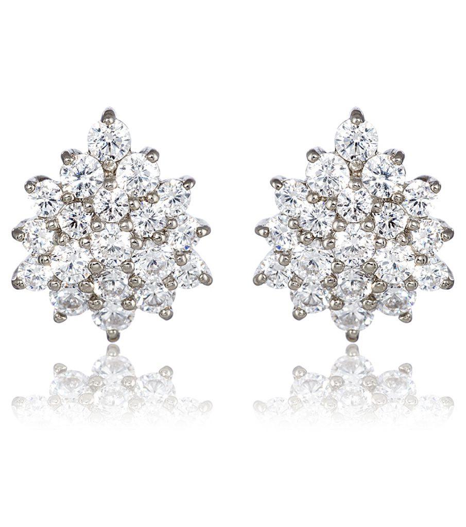sterling silver cluster bridal earrings