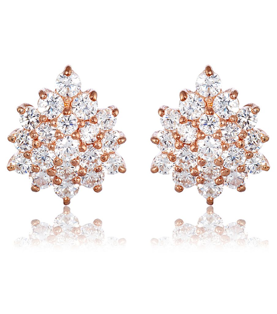 Grace Cluster Rose Gold Earrings